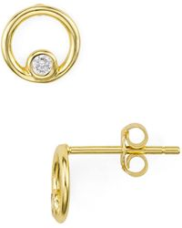 Aqua - Pavé Loop Stud Earrings - Lyst