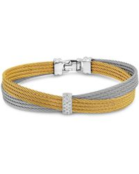 Alor - Two Tone Crisscross Cable Bracelet With Diamonds - Lyst