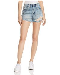 Blank NYC - Striped Distressed Denim Shorts In Now Or Never - Lyst