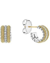 Lagos - 18k Gold And Sterling Silver Diamond Lux Small Hoop Earrings - Lyst