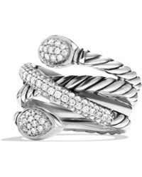 David Yurman - Renaissance Crossover Ring With Diamonds - Lyst