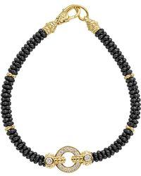 Lagos - Circle Game Black Caviar Ceramic Rope Bracelet With Diamonds And 18k Gold - Lyst