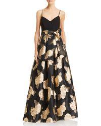 Eliza J - Metallic Floral Ball Gown - Lyst