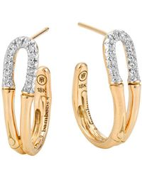 John Hardy | Bamboo 18k Gold And Diamond Small Hoop Earrings | Lyst