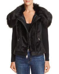 Guess - Posh Faux Fur & Faux Leather Vest - Lyst