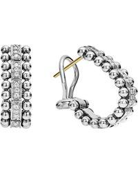Lagos - Sterling Silver Caviar Spark Diamond Oval Hoop Earrings - Lyst