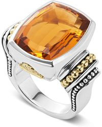 Lagos - 18k Gold And Sterling Silver Caviar Colour Large Citrine Ring - Lyst