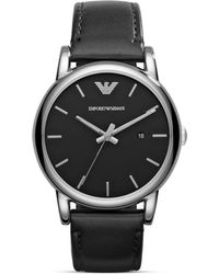 Armani Emporio Three Hand Black Leather Watch