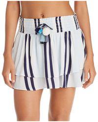 Surf Gypsy - Stripe Ruffle Hem Skirt Swim Cover-up - Lyst