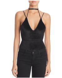 Kendall + Kylie | Velvet Plunge Bodysuit | Lyst
