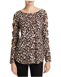 Status By Chenault - Leopard Print Cutout Ladder Sleeve Top - Lyst