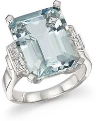 Bloomingdale's - Aquamarine And Diamond Baguette Ring In 14k White Gold - Lyst