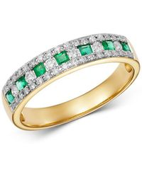 Bloomingdale's - Emerald & Diamond Single Band Ring In 14k Yellow Gold - Lyst