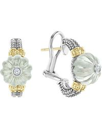 Lagos - 18k Gold & Sterling Silver Caviar Forever Diamond & Green Amethyst Melon Bead Half Hoop Earrings - Lyst