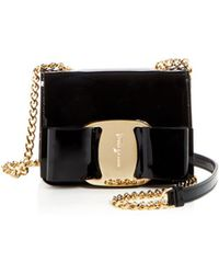 178d1faf5db4 Ferragamo - Mini Vara Oversized Bow Patent Leather Crossbody - Lyst
