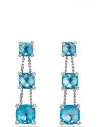 David Yurman - Châtelaine Linear Chain Earrings With Blue Topaz And Diamonds - Lyst