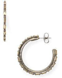Sorrelli - Baquette Crystal Adorned Hoop Earrings - Lyst