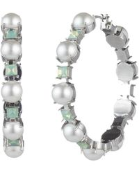 Carolee - Simulated Pearl & Stone Hoop Earrings - Lyst