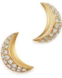 Temple St. Clair - 18k Yellow Gold Cresent Moon Earrings With Pavé Diamonds - Lyst