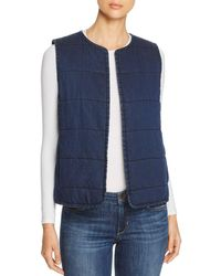 Eileen Fisher - Quilted Denim Vest - Lyst