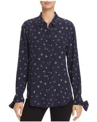 Theory - Tie Cuff Floral Button-up - Lyst
