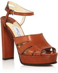 95c5a8ec6ab Jimmy Choo - Women s Hermione 120 Leather Platform High-heel Sandals - Lyst
