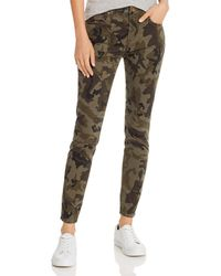 Aqua Ankle Skinny Jeans In Olive Camo - Green