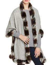 Badgley Mischka - Faux Fur Trim Wrap - Lyst