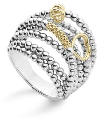 Lagos - 18k Gold And Sterling Silver Domed Caviar Icon Multi Row Ring - Lyst