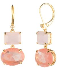 Carolee - Gold Rectangle Drop Earrings - Lyst