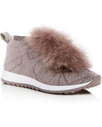 Jimmy Choo - Women's Norway Fox Fur Pom-pom Slip-on Sneakers - Lyst