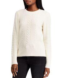 Ralph Lauren - Lauren Beaded Cable-knit Sweater - Lyst
