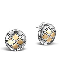 John Hardy - Sterling Silver & 18k Gold Naga Button Earrings - Lyst