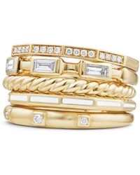 David Yurman - Stax Color Ring With Diamonds In 18k Gold - Lyst