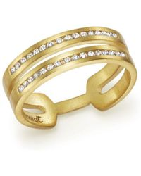 Meira T - 14k Yellow Gold Double Row Open Band Ring With Diamonds - Lyst