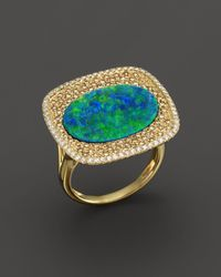 Meira T - 14k Yellow Gold Opal Square Ring With Diamonds - Lyst