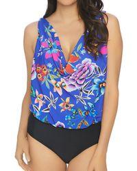 Athena - Mexicana Floral Cowl Neck Blouson One Piece Swimsuit - Lyst
