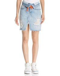07ead78477 Hudson Jeans - Sloane Fold-over Denim Skirt In Overthrow - Lyst