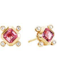 David Yurman - 18k Yellow Gold Novella Stud Earrings With Pink Tourmaline & Diamonds - Lyst
