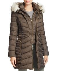 Laundry by Shelli Segal - Faux-fur-trim Hooded Quilted-panel Puffer Coat - Lyst