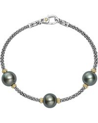 Lagos - 18k Gold And Sterling Silver Luna Cultured Freshwater Black Pearl Triple Station Bracelet - Lyst