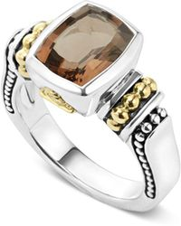 Lagos - 18k Gold And Sterling Silver Caviar Colour Small Smoky Quartz Ring - Lyst