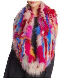 Jocelyn - Knitted Fox Fur Sections Infinity Scarf - Lyst