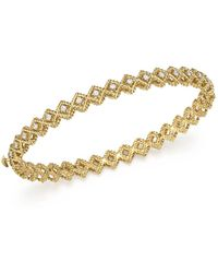 Roberto Coin - 18k Yellow Gold New Barocco Diamond Single Row Bangle - Lyst