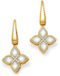 Roberto Coin - 18k Yellow Gold Venetian Princess Diamond & Mother Of Pearl Earrings - Lyst
