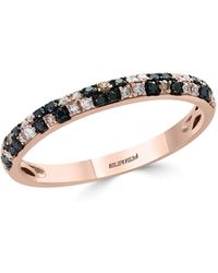 Bloomingdale's - White & Brown Diamond Stacking Ring In 14k Rose Gold - Lyst