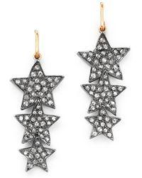 Shebee - 14k Yellow Gold & Diamond Triple Star Drop Earrings - Lyst