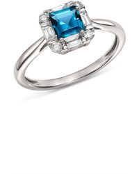 Bloomingdale's - London Blue Topaz & Diamond Square Ring In 14k White Gold - Lyst