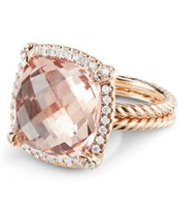 David Yurman - Chatelaine Pave Bezel Ring With Morganite In 18k Rose Gold - Lyst