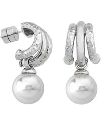 Majorica - Simulated Pearl Two-tone Drop Earrings - Lyst